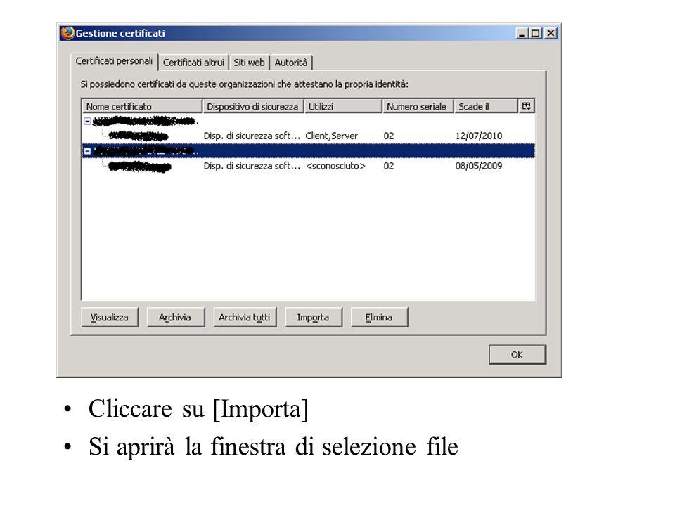 Cliccare su [Importa] Si aprirà la finestra di selezione file